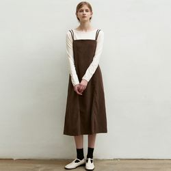 STRAP SLIP STITCH DRESS [BROWN]
