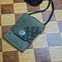 천연 가죽 ID & 카드 목걸이 (커버형 V2 - 올리브)