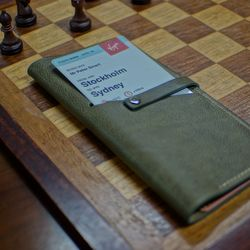 천연 가죽 여권 커버 (롱커버 티켓홀더 - 올리브)