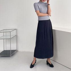 Pleats Rose A-Line Long Skirt