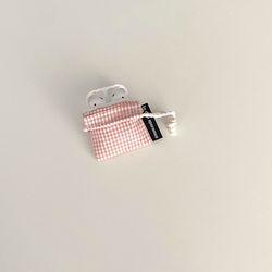 깨 체크 핑크 에어팟 케이스 (Pink check airpods case)