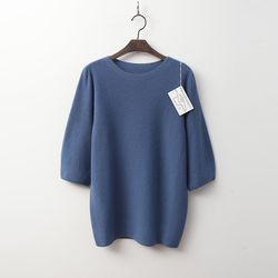 Whole Cashmere Wool Puff Sweater - 7부소매