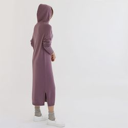 Whole Cashmere Wool Hooded Long Dress