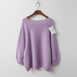 Whole Cashmere Wool Round Sweater - 9부소매