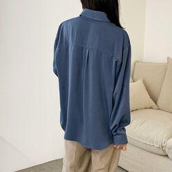 여자 가을 포켓 폴리100% 이너 레이어드 깔끔 셔츠