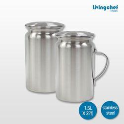 리빙쉐프 올 스텐물병 (1.5LX2개) 냉장고물병