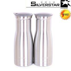 실버스타 실버메탈 국내산 스텐물병 (1100mlX2개) 냉장고물병