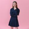 GOLD BUTTON POINT PLEATS WRAP ONEPIECE(NAVY)