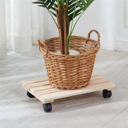 편백나무 원목 이동식 화분받침대 직사각 40x26cm