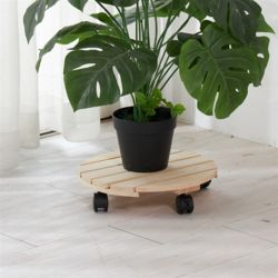 편백나무 원목 이동식 화분받침대 원형 33cm