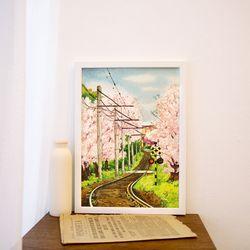 A3 종이 포스터 - 벚꽃 기차길