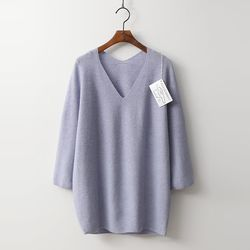 Whole Cashmere Wool Double V-Neck Sweater