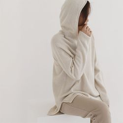 Whole Cashmere Wool T Hood Sweater