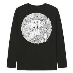 KLTB0140 하얀늑대 긴팔티셔츠 - 블랙(ITEML09Y8T9)