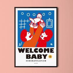 웰컵 베이비 M 유니크 디자인 포스터 출산 가족 A3(중형)