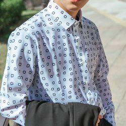 패턴 디자인 셔츠 블랙 오버핏 셔츠