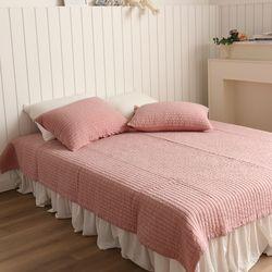 줄누빔 아사순면 60수 20mm 침대 패드 베개커버세트 중형