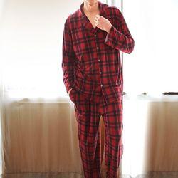 남성긴팔잠옷 레드체크 피치기모 페어 7028(남성)