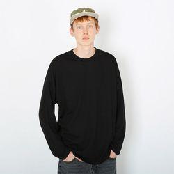 보그 오버사이즈 핏 긴팔티셔츠-블랙