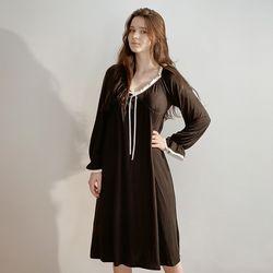 모달 브라캡 긴소매 화이트 리본 블랙 원피스 잠옷 홈웨어