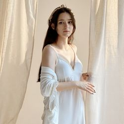 슬립 드레스 로브 세트 화이트 잠옷 홈웨어2color