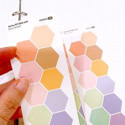 18x15mm 육각 컬러칩 스티커 (12 Cut Sticker) 4매