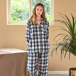 여성긴팔잠옷 선염체크 긴소매 기모 페어 7027(여성)
