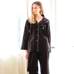 여성긴팔잠옷 블랙 코튼 긴소매 순면 페어 7026(여성)