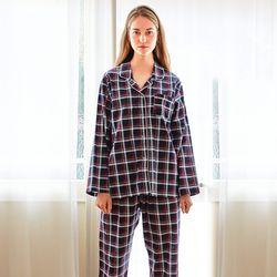 여성긴팔잠옷 클래식체크 긴소매 순면 페어 7025(여성