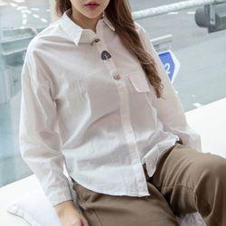 P9970 유니크 버튼 워싱 코튼 셔츠