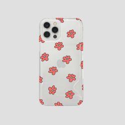 (반투명 카드포켓) 보라 꽃 패턴