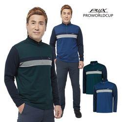 Q321-3154-55 남성 배색 집업 티셔츠 PWX(NEWQV2MXNN)