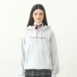 CURLY LETTERING HOODIE CEMENT GREY