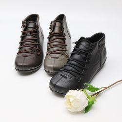 여자 중년여성 센스있는 신발끈 둥근 사각코 단화 스