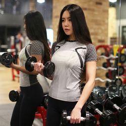 조이할리 컴프레션 여성 운동복 상의 필라테스 반팔 티셔츠