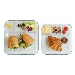 투명 플레이팅 4칸 나눔 접시 내열 강화 유리 식판