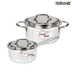 키친아트 바빈 바닥3중 스텐냄비세트 2종C(편16+양24)