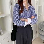 여자 가을 소매 배색 포인트 스트라이프 포인트 셔츠