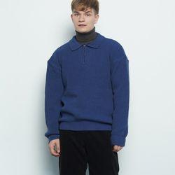 M506 collar zipup knit blue