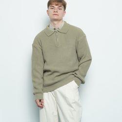 M506 collar zipup knit khaki