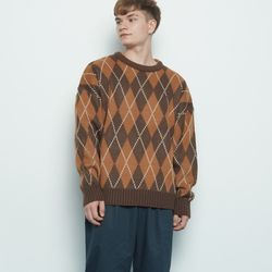 M225 argyle check over knit brown
