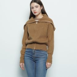 W39 life knit zip up brown