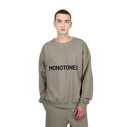 모노톤즈 남자 오버핏 긴팔 맨투맨 티셔츠 올리브