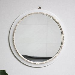 슬림 원형 벽거울 (화이트)