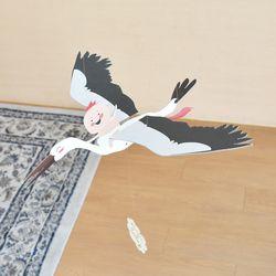 [버드힐링모빌] 날갯짓하는 새모빌 아이와하얀새
