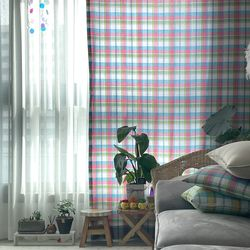빈티지체크 가리개커튼 레인보우 핑크(S 가로140x세로140cm)