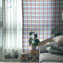 빈티지체크 가리개커튼 레인보우 핑크(L 가로140x세로230cm)