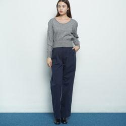W37 pintuck cotton pants navy