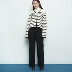 W56 pintuck cotton pants black