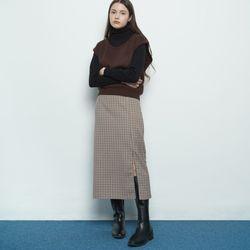 W327 mini checkered straight skirt beige